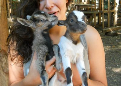 Helen Somes with Galeazza goats